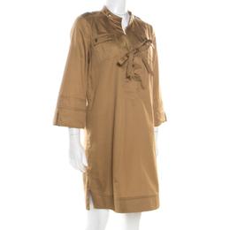 Diane Von Furstenberg Camel Brown Cotton Neck Tie Detail Damani Dress M 186746