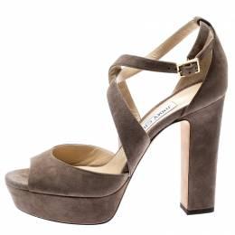 Jimmy Choo Beige Suede April Cross Strap Platform Block Heel Sandals Size 39 187758