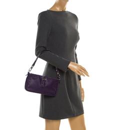 Longchamp Purple Leather Shoulder Bag 187282