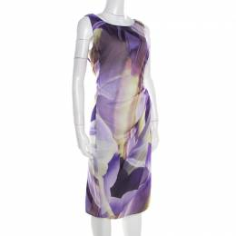 Armani Collezioni Purple Printed Silk Draped Sleeveless Dress L 192861
