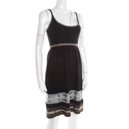 M Missoni Black Knit Contrast Metallic Trim Detail Sleeveless Dress S 192577