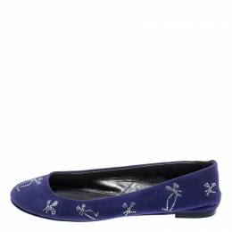 Giuseppe Zanotti Design Blue Suede Crystal Embellished Ballet Flats Size 36 192857