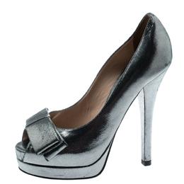 Fendi Grey Shimmering Suede Deco Bow Peep Toe Platform Pumps Size 36 192908
