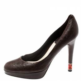 Dior Brown Leather Platform Pumps Size 36 192822