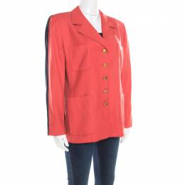 Escada Pink and Black Wool Paneled Contrast Top Stitch Detail Blazer L