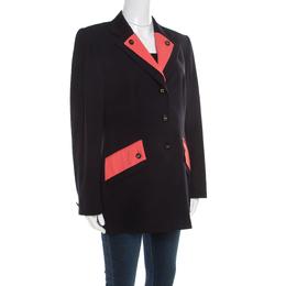 Escada Black Wool Contrast Faux Layered Lapel Logo Button Detail Blazer L