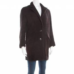 Isabel Marant Etoile Black and Burgundy Wool and Alpaca Textured Coat S