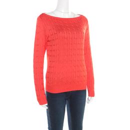 Ralph Lauren Coral Pink Silk Cable Knit Bateau Neck Pullover L 192999