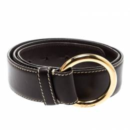 Loro Piana Brown Leather Stitched Belt 85CM 192989