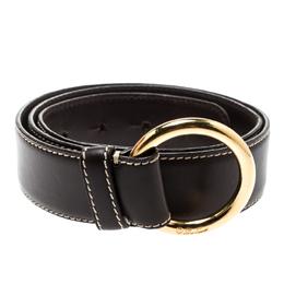 Loro Piana Brown Leather Stitched Belt 85CM