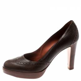 Loro Piana Brown Brogue Leather Platform Pumps Size 38.5 193406
