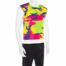 Dsquared2 White Contrast Camouflage Printed Short Sleeve Sweatshirt M