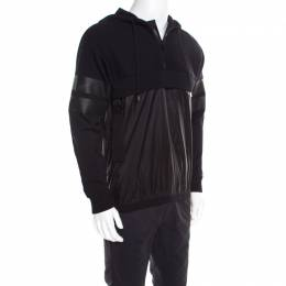 Givenchy Black Knit Layered Hooded Sweatshirt M
