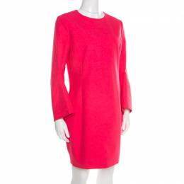 Dior Hot Pink Cotton Long Flared Sleeve Dress M 193385