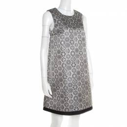 Gucci Monochrome Metallic Floral Jacquard Sleeveless Dress S 193392
