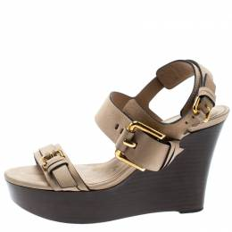 Burberry Beige Leather Buckle Detail Platform Wedge Sandals Size 37 193417
