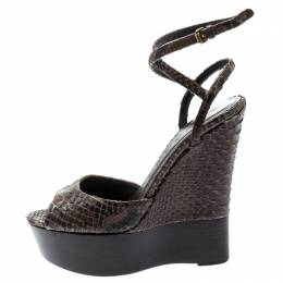 Burberry Brown Python Leather Platform Ankle Strap Wedge Sandals Size 36.5 193414