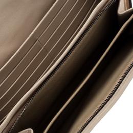 Bottega Veneta Light Beige Intrecciato Embroidered Leather Continental Wallet 194099