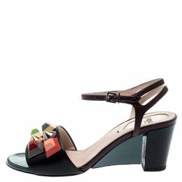 Fendi Multicolor Lizard Embossed And Leather Fantasia Studded Ankle Strap Sandals Size 35 193274