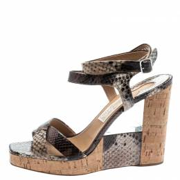 Salvatore Ferragamo Multicolor Python Embossed Leather Wedge Sandals Size 40 193870