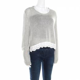 Miu Miu Heather Grey Open Knit Eyelet Trim Sweater Top M