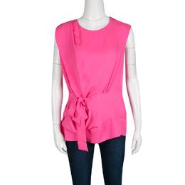 Diane Von Furstenberg Pink Silk Tie Detail Grandie Blouse L 135740
