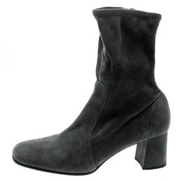 Prada Grey Suede Block Heel Ankle Boots Size 39 193944