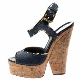 Giuseppe Zanotti Design Dark Wash Denim Cork Heel Platform Wedge Sandals Size 39.5 194159