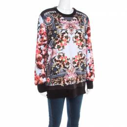 Givenchy Multicolor Roses and Birds of Paradise Cotton Knit Sweatshirt XS 194174