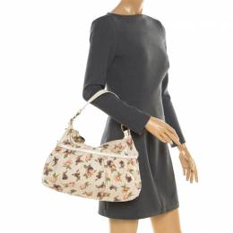 Fendi Beige Floral Print Zucca Canvas Chef Shoulder Bag 193926