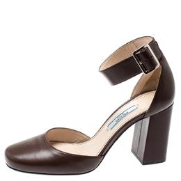 Prada Brown Leather Block Heel Ankle Strap Sandals Size 36.5 194135