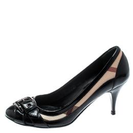 Burberry Black Patent Leather/ Nova Check Buckle Detail Pumps Size 35 194066