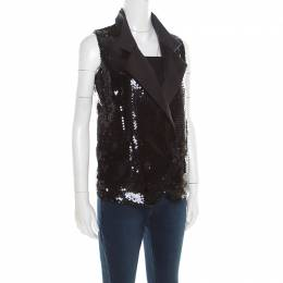 Dolce&Gabbana Black Sequined Double Breasted Vest S 194854
