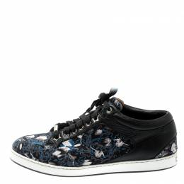 Jimmy Choo Floral Printed Satin And Leather Miami Low Top Sneakers Size 39 194917