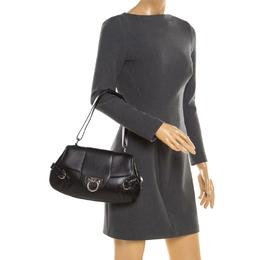 Salvatore Ferragamo Black Leather Gancini Shoulder Bag 194176