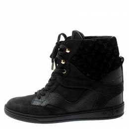 Louis Vuitton Black Monogram Suede And Leather Cliff Top Lace Up Sneakers Size 39.5 194688