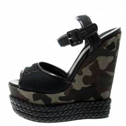 Giuseppe Zanotti Design Black Canvas And Leather Camouflage Platform Wedge Sandals Size 40 194417