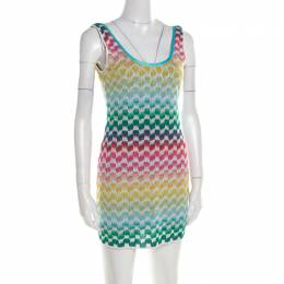 Missoni Mare Multicolor Patterned Knit Scoop Back Beach Cover Up Dress M 194901