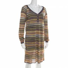 M Missoni Multicolor Perforated Patterned Knit Dress L 194904