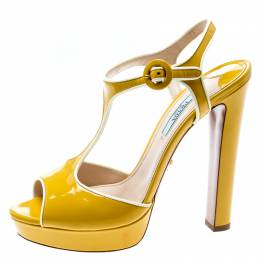 Prada Yellow Patent Leather T-Strap Platform Sandals Size 37.5 195018