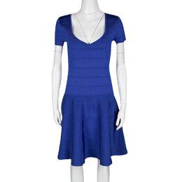 Ralph Lauren Sapphire Blue Short Sleeve Bandage Skater Dress L 195512