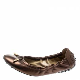 Tod's Metallic Bronze Leather Bow Scrunch Ballet Flats 37 Tod's 195208