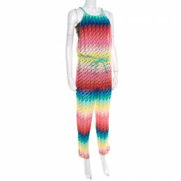 Missoni Mare Rainbow Patterned Perforated Knit Beach Cover Up Jumpsuit S M Missoni 195231