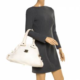 Versace Bag Off White Leather Dome Satchel 195291