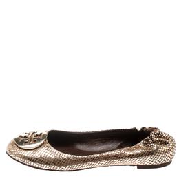 Tory Burch Metallic Gold Foil Textured Suede Reva Ballet Flats Size 37.5 195132