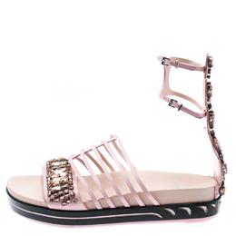 Fendi Pink Leather Crocodile Crystal Embellished Flat Platform Sandals Size 39 194401