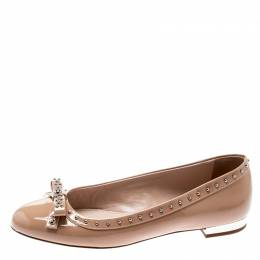 Miu Miu Beige Patent Leather Studded Bow Ballet Flats Size 37.5 195240