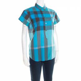 Burberry Brit Multicolor Checked Cotton Short Sleeve Shirt XS 195470