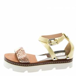 Casadei Yellow Patent Leather And Two Tone Python Embossed Leather Cross Strap Platform Sandals Size 37 195286