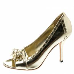 Gucci Metallic Gold Leather Horsebit Star Bow Peep Toe Loafer Pumps Size 36 195453